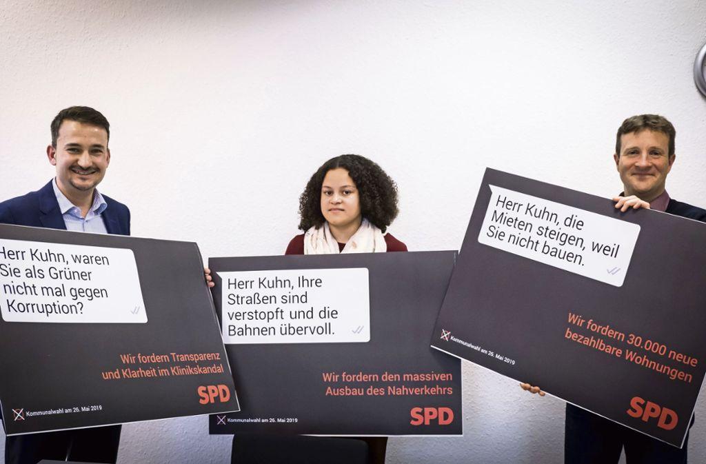 Kritik am grünen Oberbürgermeister: SPD-Kreischef  Dejan Perc (von links)  und das Spitzenduo  Jasmin Meergans und  Martin Körner Foto: Lichtgut/Achim Zweygarth