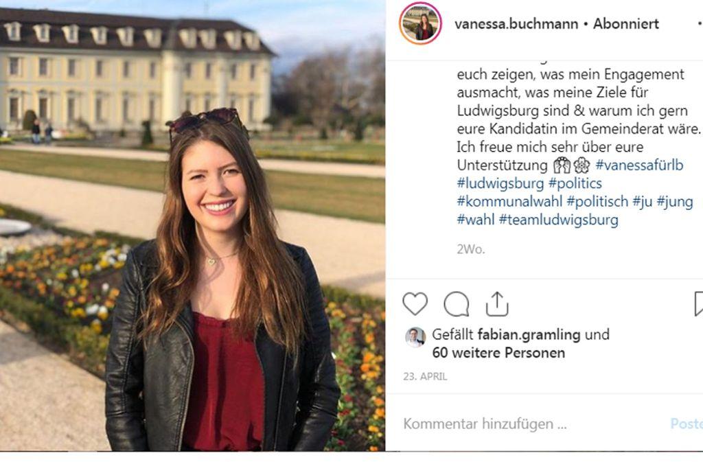 Vanessa Buchmann führt einen intensiven Instagram-Wahlkampf. Foto: Instagram/vanessa.buchmann