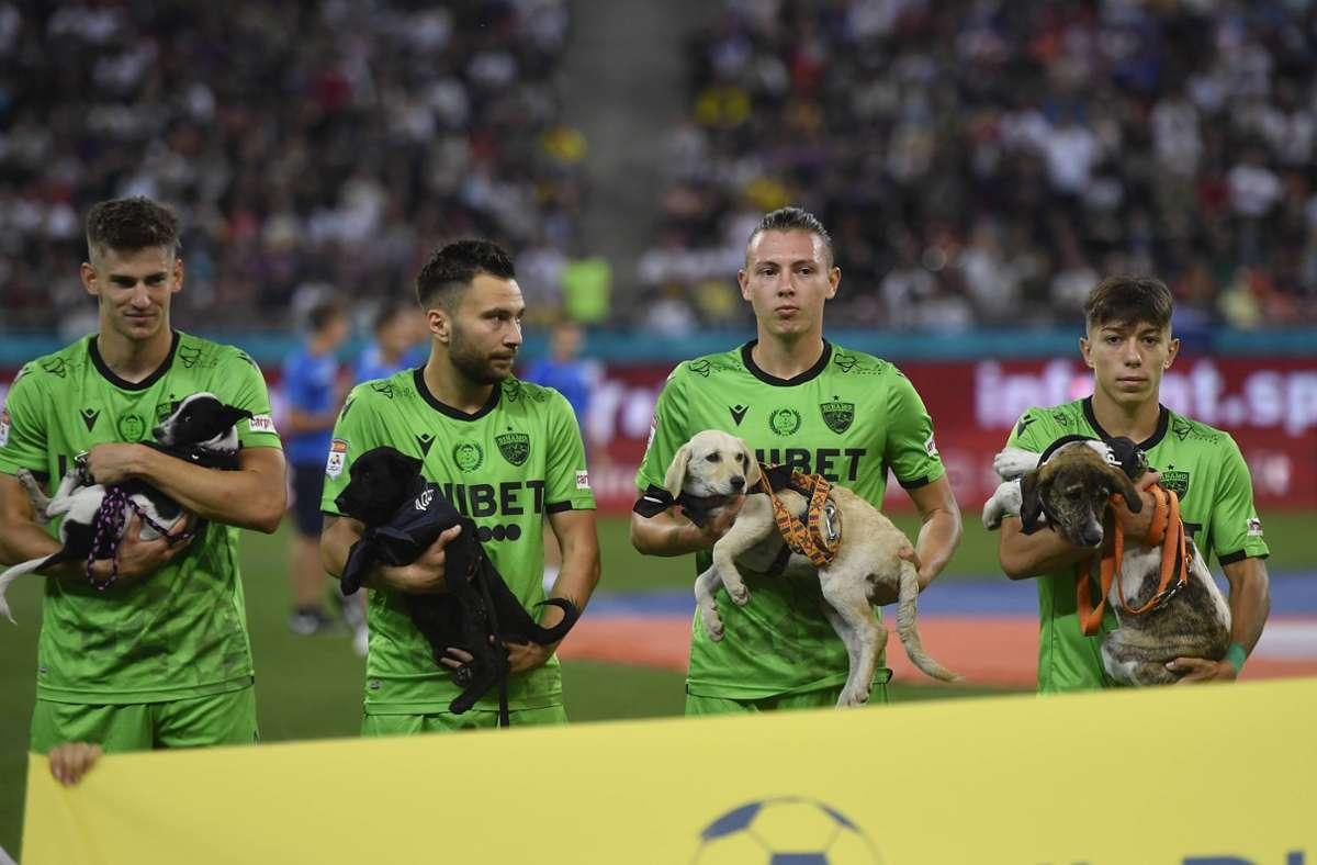 Spieler des Erstligisten Dinamo Bukarest tragen die Hunde ins Stadion. Foto: imago images/NurPhoto/Alex Nicodim