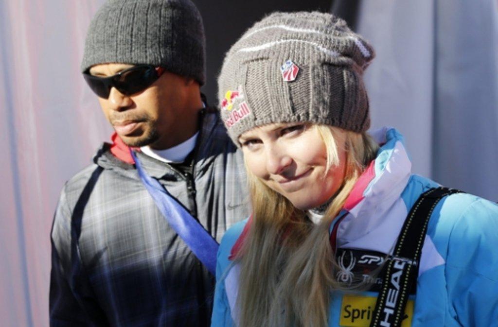 Es geht ihr nicht gut: Lindsey Vonn sucht Trost bei ihrem Freund Tiger Woods. Foto: dpa