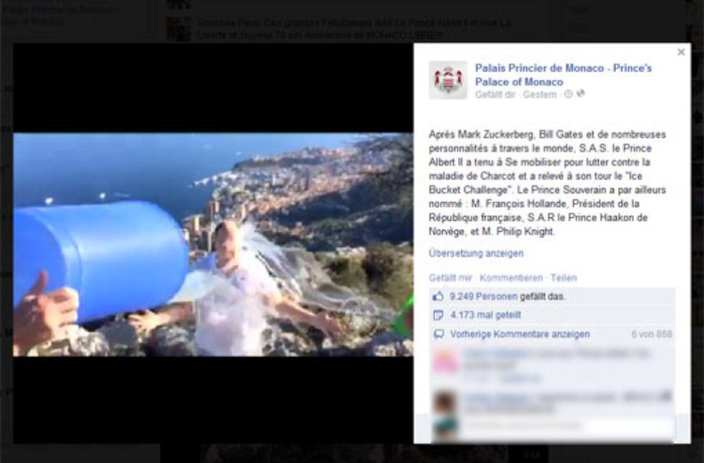 Vor der malerischen Kulisse des Mittelmeers absolviert Fürst Albert von Monaco seine Ice Bucket Challenge. Foto: facebook.com/palaismonaco