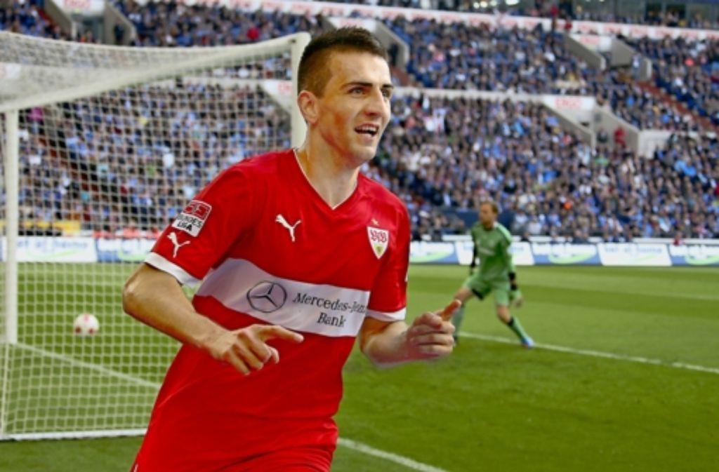 Zwei Chancen, zwei Tore: Vedad Ibisevic ist auf Schalke der Mann des Tages. Foto: Baumann