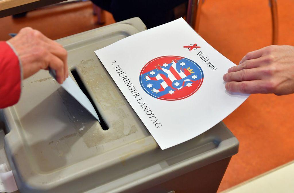 Die Wahlbeteiligung in Thüringen ist deutlich höher als vor fünf Jahren. Foto: dpa/Martin Schutt