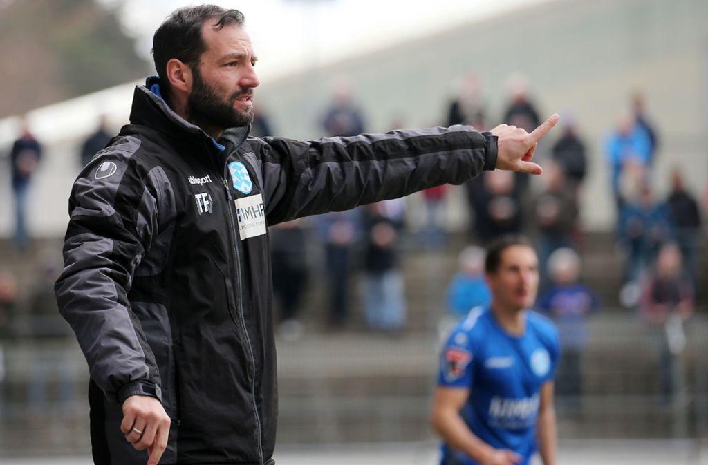 SVK-Trainer Tobias Flitsch sah gegen Backnang eine unglückliche Niederlage. Foto: Pressefoto Baumann