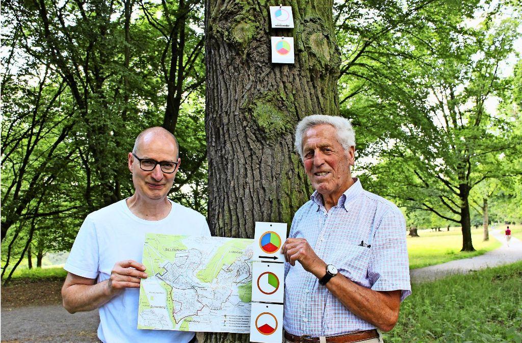 Michael Fuchs (li.) und Ewald Eblen haben sich dem Wegenetz gewidmet. Foto: Holowiecki