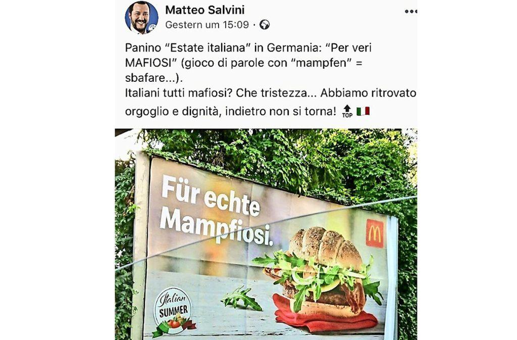 Auf der Facebookseite von Italiens Innenminister Matteo Salvini: Kritik an der Kampagne von McDonalds Österreich – Slavini schreibt sie aber Deutschland zu. Foto: