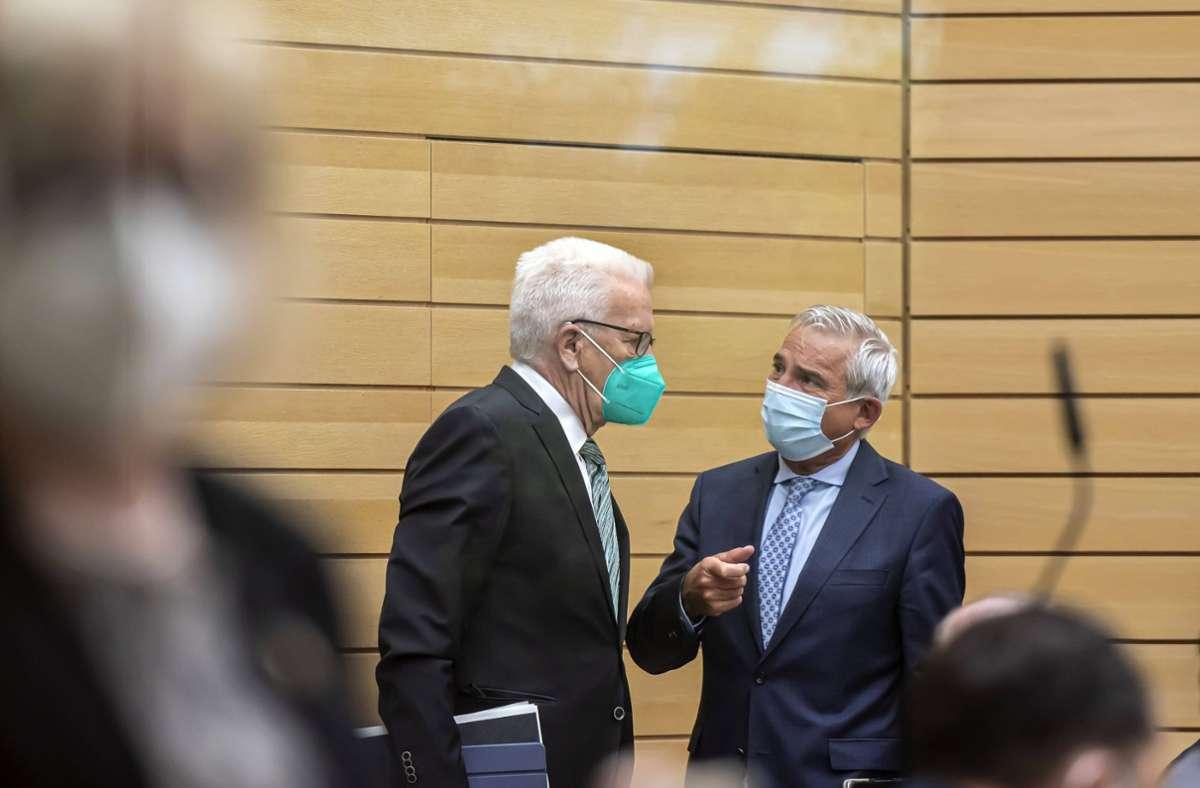 Winfried Kretschmann (links) und Thomas Strobl äußerten sich am Dienstag zur Bundestagswahl. Foto: imago images//Arnulf Hettrich