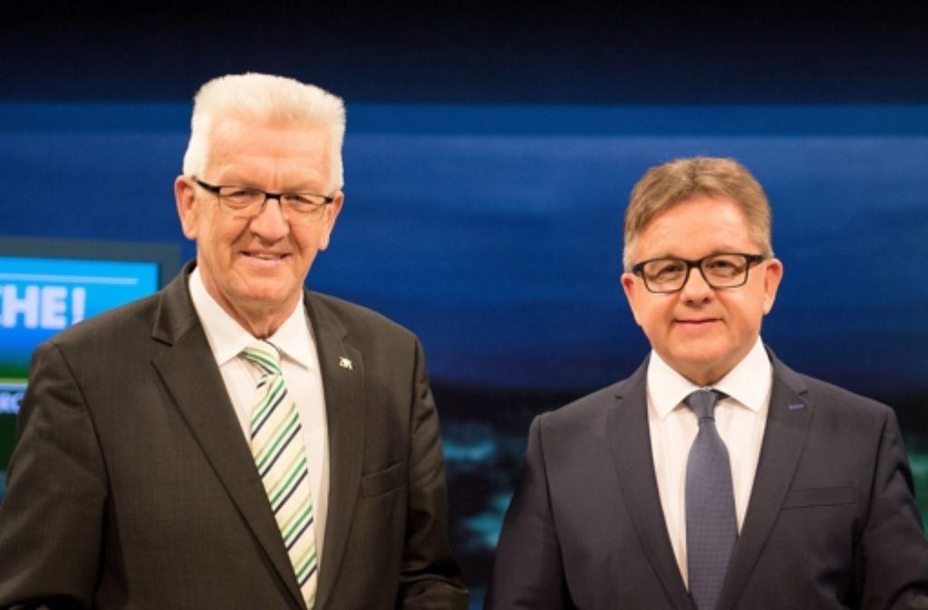 Nur CDU und Grüne könnten eine Zweierkoalition bilden. Die Frage ist, ob Winfried Kretschmann und Guido Wolf (rechts) gemeinsam eine Regierung bilden wollen. Foto: dpa