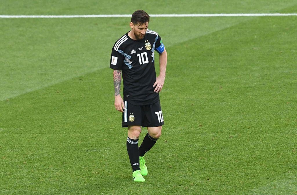 Gegen Island verschießt Lionel Messi einen Foulelfmeter – Torhüter Hannes Halldorsson wird zum Helden Foto: AFP
