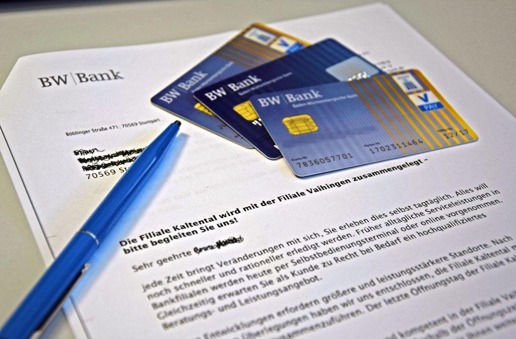 Die BW-Bank hat ihre Kunden in einem Brief über die Umwandlung der Filiale informiert. Foto: Alexandra Kratz