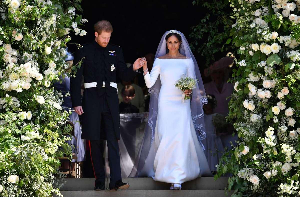 Auf Schloss Windsor wurden Prinz Harry und Meghan Markle 2018 Mann und Frau. Oder? Foto: dpa/Ben Stansall