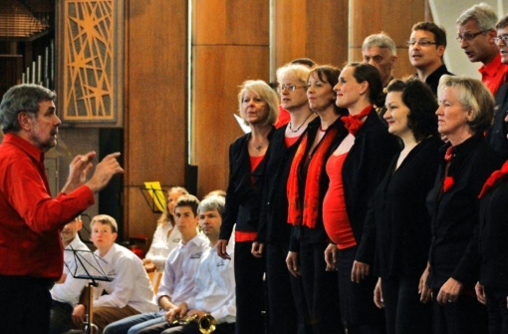 Martin Onnen (li.) und sein Chor sowie sechs andere Ensembles begeisterten die Zuhörer in der Gnadenkirche, und die spendeten für den Erhalt ihrer Gotteshäuser. Foto: Martin Bernklau