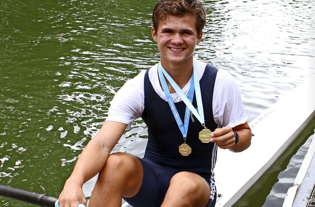 Im Frühjahr  schon Silber auf dem Ergometer, nun Gold im richtigen Boot: Jannik Fachat erlebt eine tolle Saison. Foto: Yavuz Dural