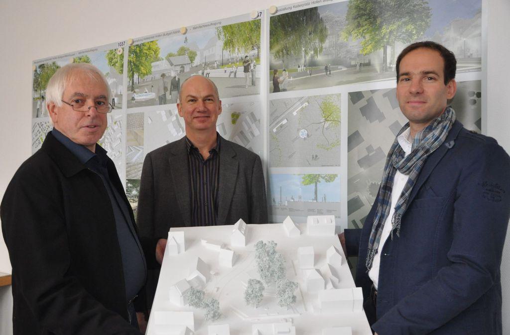 Der Sieger-Entwurf des Hofener Kelterplatzes wurde 2015 vorgestellt. Nun fordern die Bürgervereine aus Mühlhausen, ihn umzusetzen. Foto: Georg Linsenmann  (Archiv)