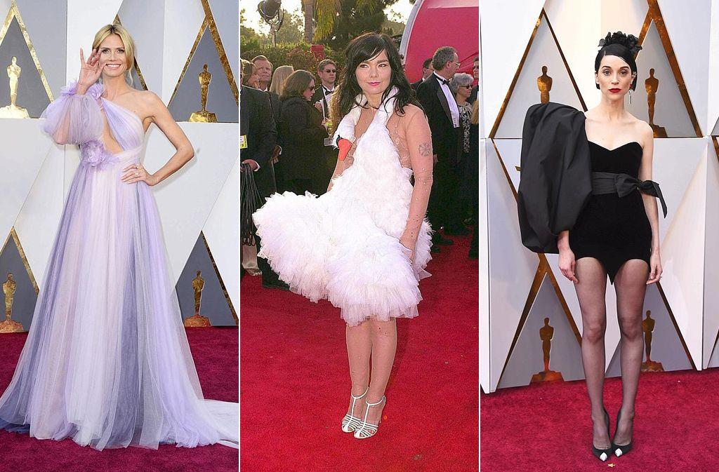 Oscar-Schrecklichkeiten aus zwei Jahrzehnten: Heidi Klum im Jahr 2016, Björk 2001 und St. Vincent 2018. Foto: dpa/AFP/AP