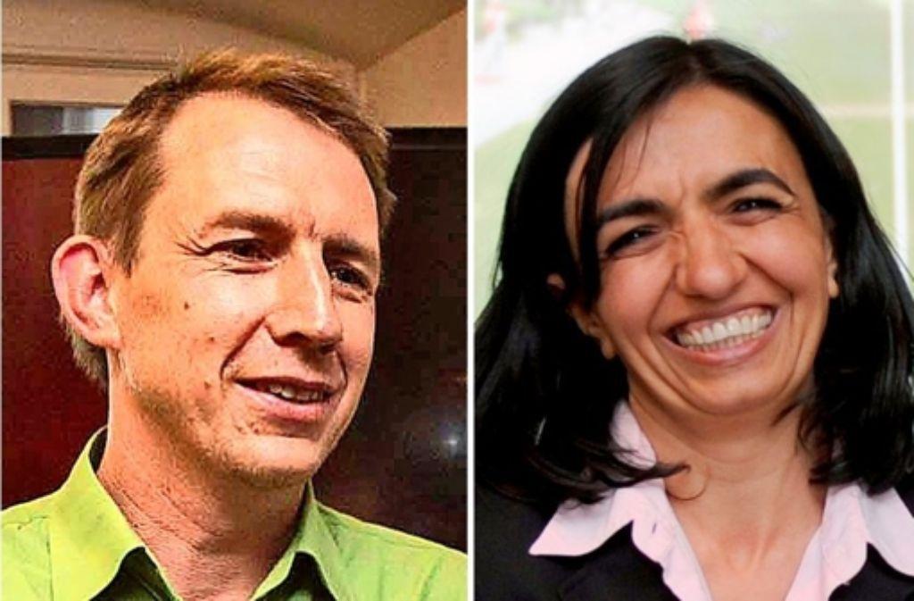 Mark Breitenbücher und Muhterem Aras wollen die Grünen in Stuttgart führen. Foto: Montage StZ