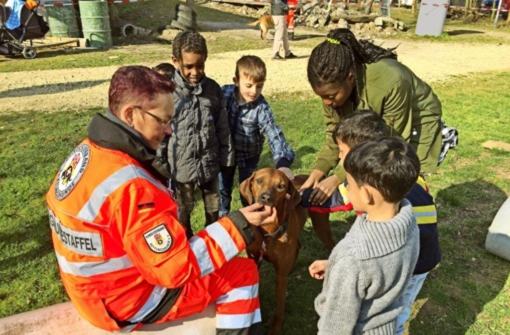 Anfassen erwünscht: der Rhodesian Ridgeback Jamila der Rettungshundeführerin Susanne Roll genießt die Streicheleinheiten der Flüchtlingskinder. Foto: Roll/RHS Mittlerer Neckar