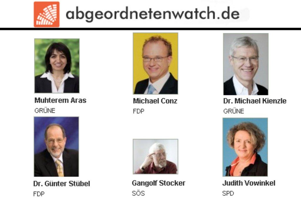 Auch der Stuttgarter Gemeinderat ist bei Abgeordnetenwatch vertreten. Foto: Screenshot ch