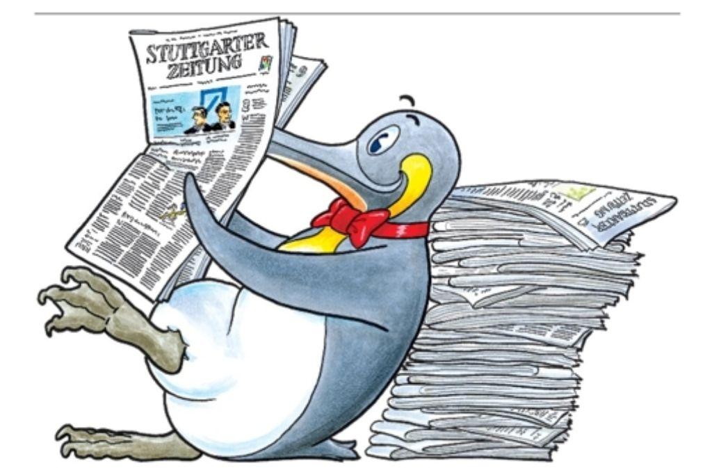 """Ein neugieriger, quirliger Pinguin ist das Vorbild für den Chefreporter der Stuttgarter Kinderzeitung Paul. Er ist auch das Maskottchen für das neue Projekt """"  Zeitung in der Schule"""", das nun beginnt. Foto: dpa"""