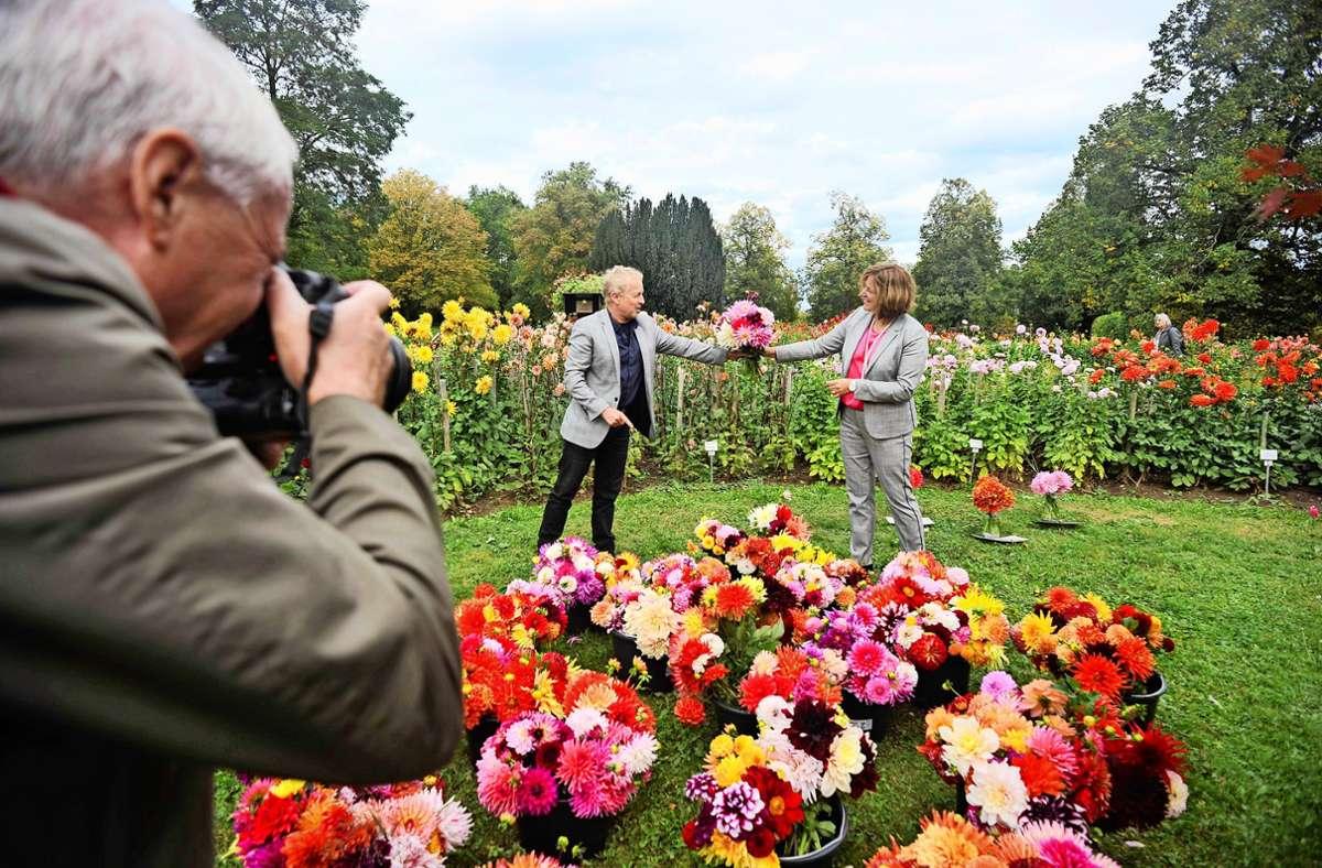 Gartenamtsleiter Volker Schirner überreicht einen Dahlienstrauß an Petra Hellenthal, die  Leiterin  Augustinums auf dem  Killesberg. Foto: Lichtgut/Max Kovalenko