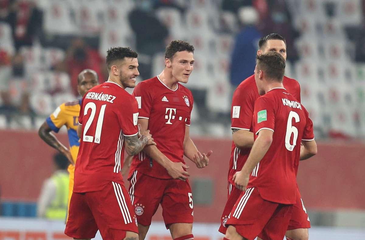 Jubel bei den Bayern. Foto: dpa/Mahmoud Hefnawy