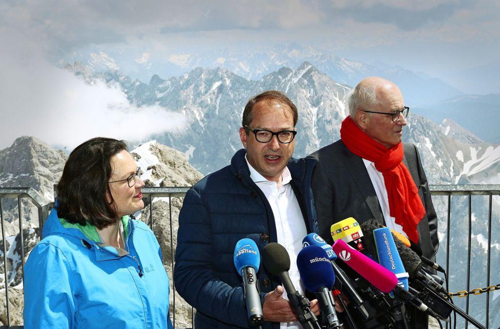 Vor gut einem Jahr: Die damaligen Fraktionsspitzen auf der Zugspitze. Foto: Getty Images