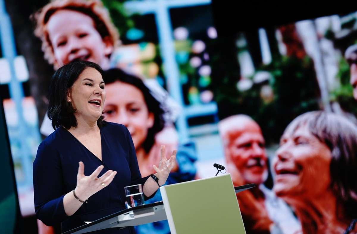 Die Grünen-Vorsitzende Annalena Baerbock nach der Nominierung zur Kanzlerkandidatin. Foto: dpa/Kay Nietfeld