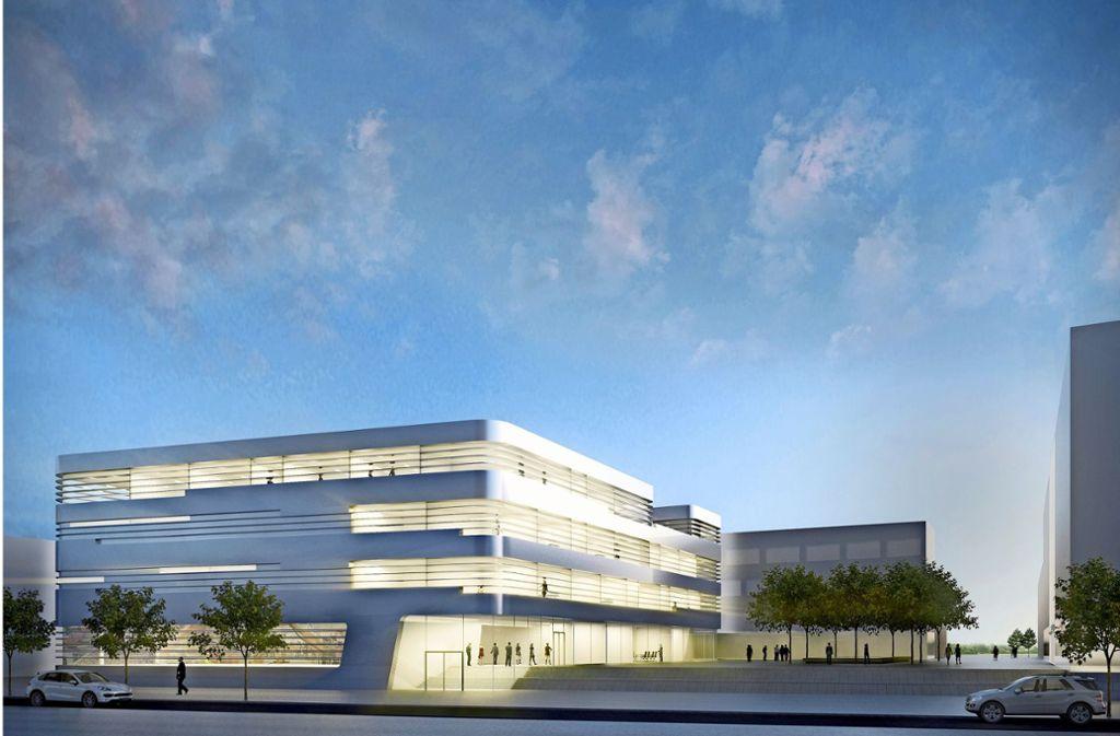 So soll der Fraunhofer-Neubau zum Thema Leichtbau südlich der Nobelstraße in Vaihingen aussehen. Foto: Gewers Pudewill