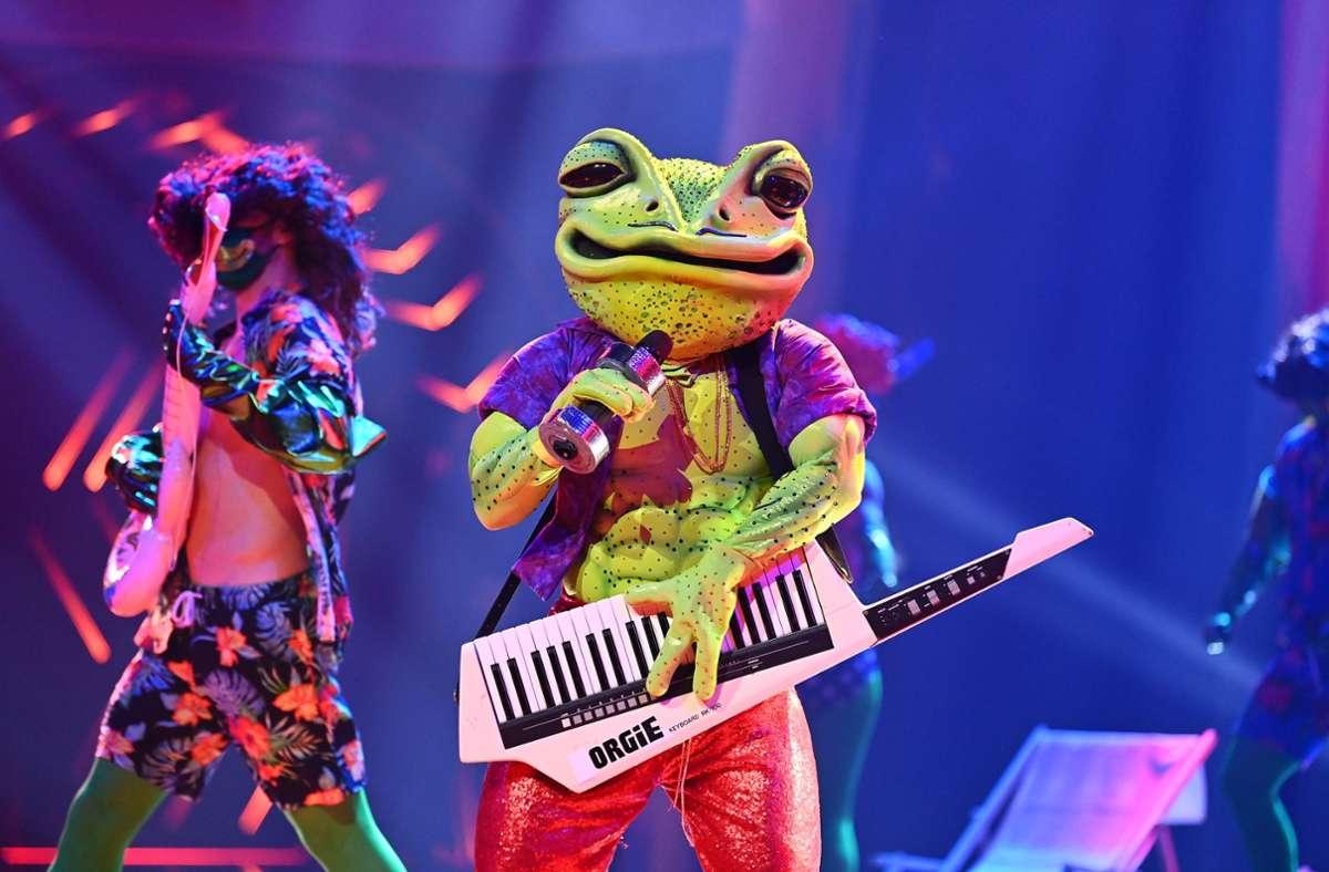 Der Frosch bekam am Dienstagabend zu wenige Stimmen der Zuschauer und musste sich enttarnen. Foto: dpa/Willi Weber
