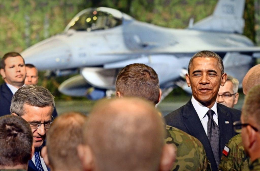 US-Präsident Barack Obama, der Polen besucht, hat  angekündigt, dass der Westen seine Militärpräsenz im Osten verstärkt, und so einen Nato-Beschluss vorweggenommen. Foto: AFP