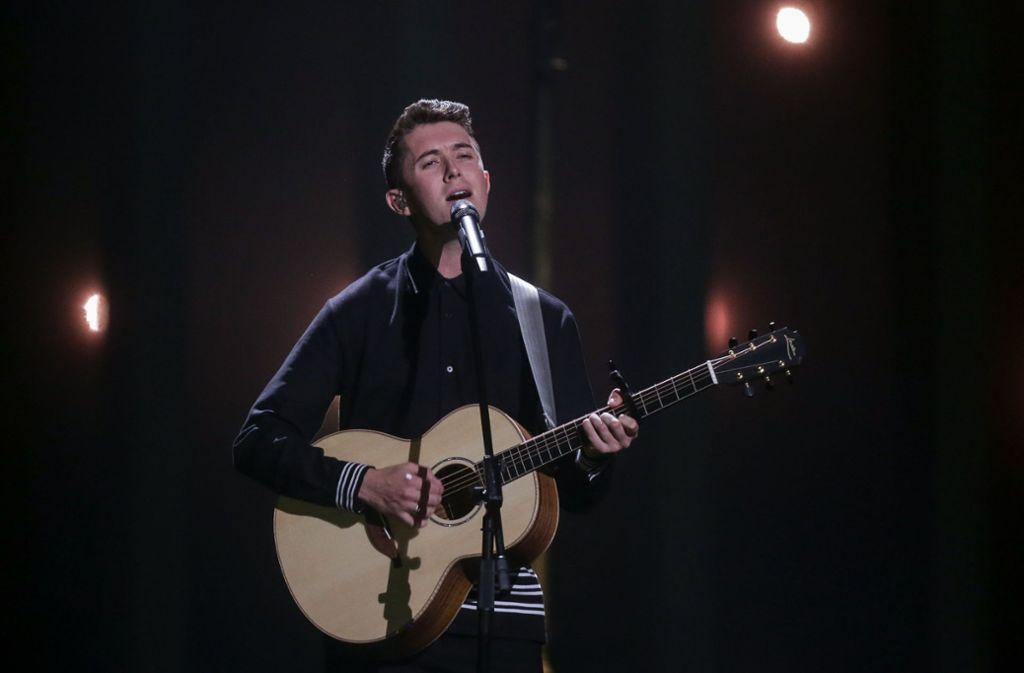 """Ryan O'Shaughnessy hat 2018  für Irland im ersten Halbfinale des Eurovision Song Contest das Lied """"Together"""" gesungen. Foto: dpa/Jörg Carstensen"""
