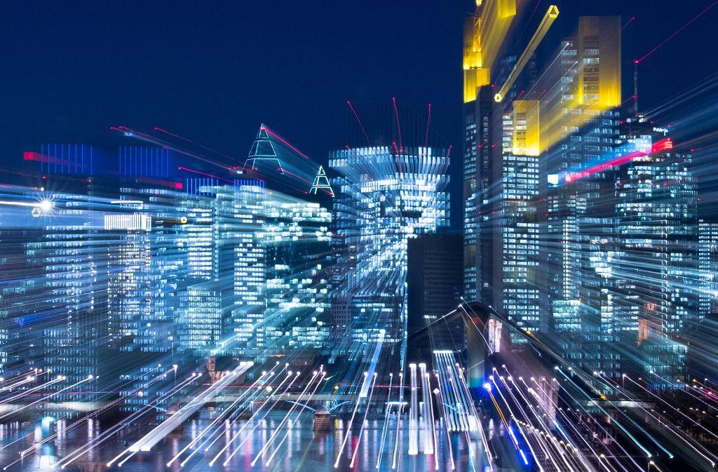 Banken sitzen auf einem regelrechten Datenschatz. Im Bild das Frankfurter Bankenviertel (aufgenommen mit Foto: dpa