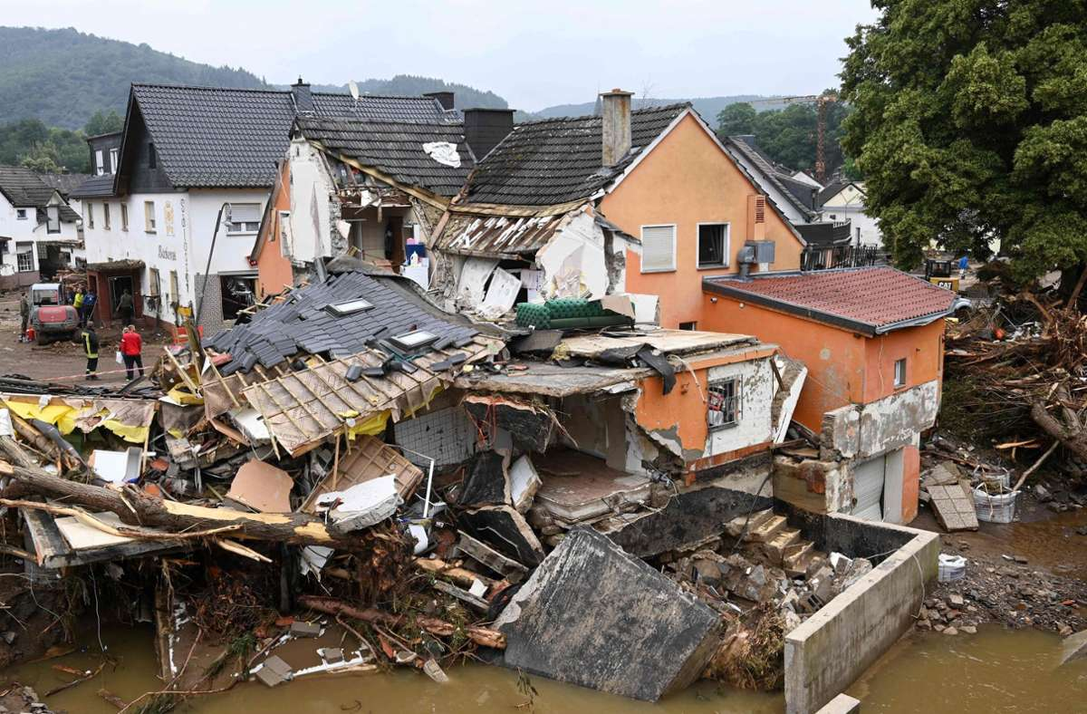 Zerstörte Häuser in Bad Neuenahr-Ahrweiler. Foto: AFP/CHRISTOF STACHE
