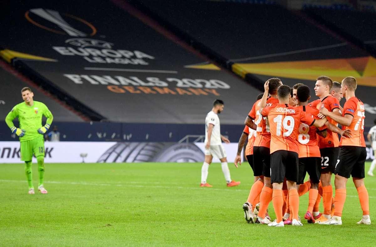Schachtjor Donezk konnte gegen den FC Basel viermal jubeln. Foto: dpa/Bernd Thissen