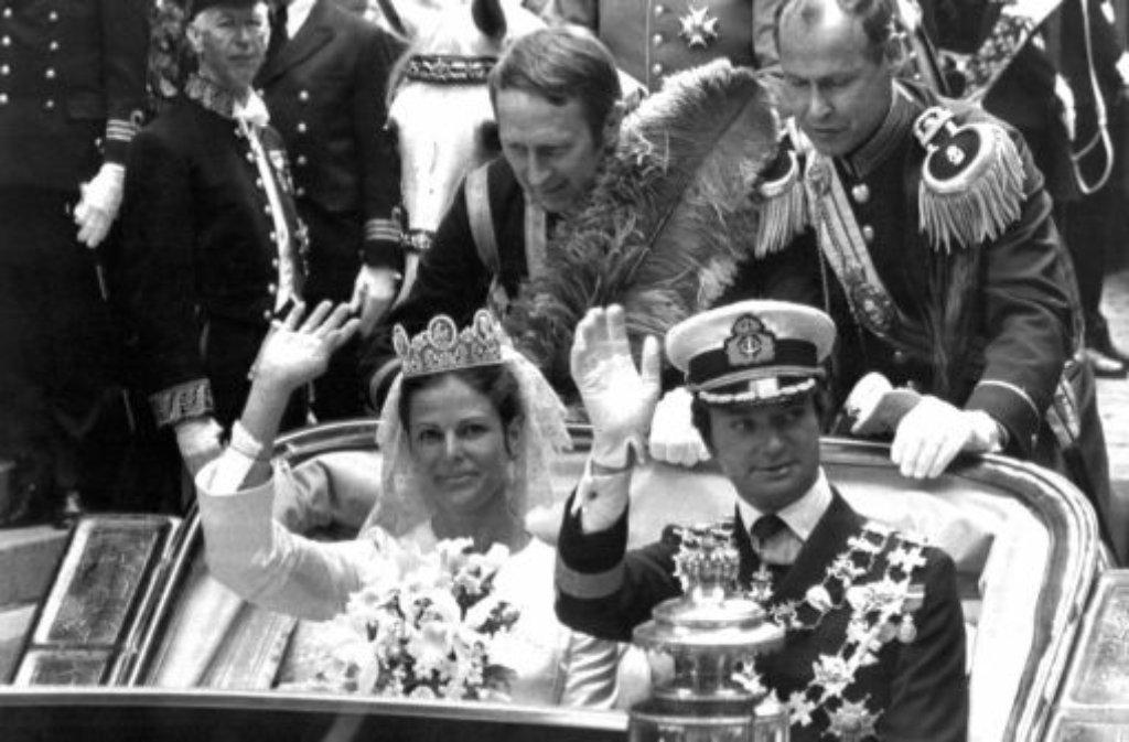 1976: Traumhochzeit in Schweden - König Carl Gustaf heiratet die Deutsche Silvia Sommerlath. Foto: dpa