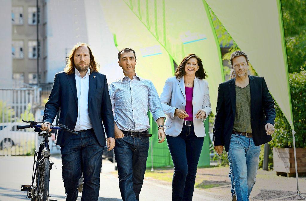 Toni Hofreiter, Cem Özdemir, Katrin Göring-Eckardt und Robert Habeck sind allesamt Schwergewichte der Grünen. Foto: dpa