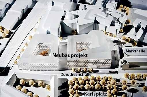 Das Modell des Architekturbüros Behnisch, von der Planie aus gesehen. Foto: Michael Steinert