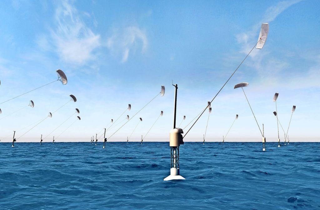 So  könnte der kommerzielle Einsatz der Energiedrachen im Meer aussehen. Als Bodenstation dient eine schwimmende Plattform, die mit Seilen verankert wird. Foto: Skysails