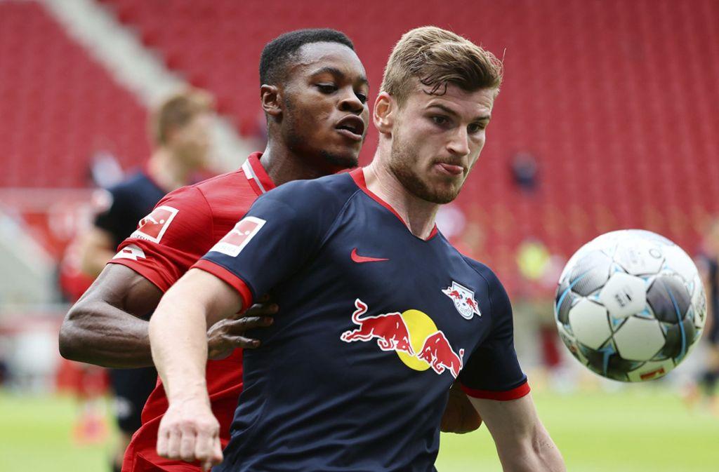 Timo Werner traf zum 1:0 gegen Mainz und legte später noch Treffer vier und fünf für Leipzig nach. Foto: AP/Kai Pfaffenbach