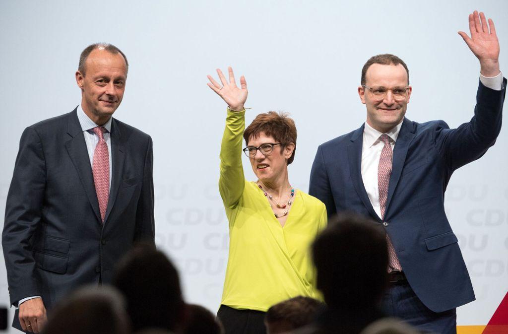 Friedrich Merz, Annegret Kramp-Karrenbauer und Jens Spahn (von links) wollen CDU-Parteivorsitzende werden. Foto: dpa