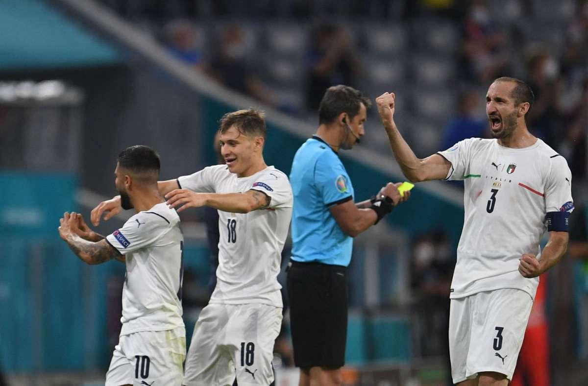 Italien jubelt über den Einzug in das Halbfinale. Foto: AFP/ANDREAS GEBERT