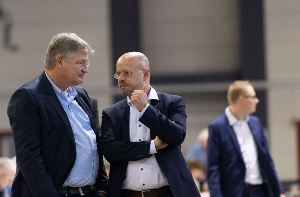 Andreas Kalbitz (rechts) mit Parteichef Jörg Meuthen. Foto: dpa-Zentralbild