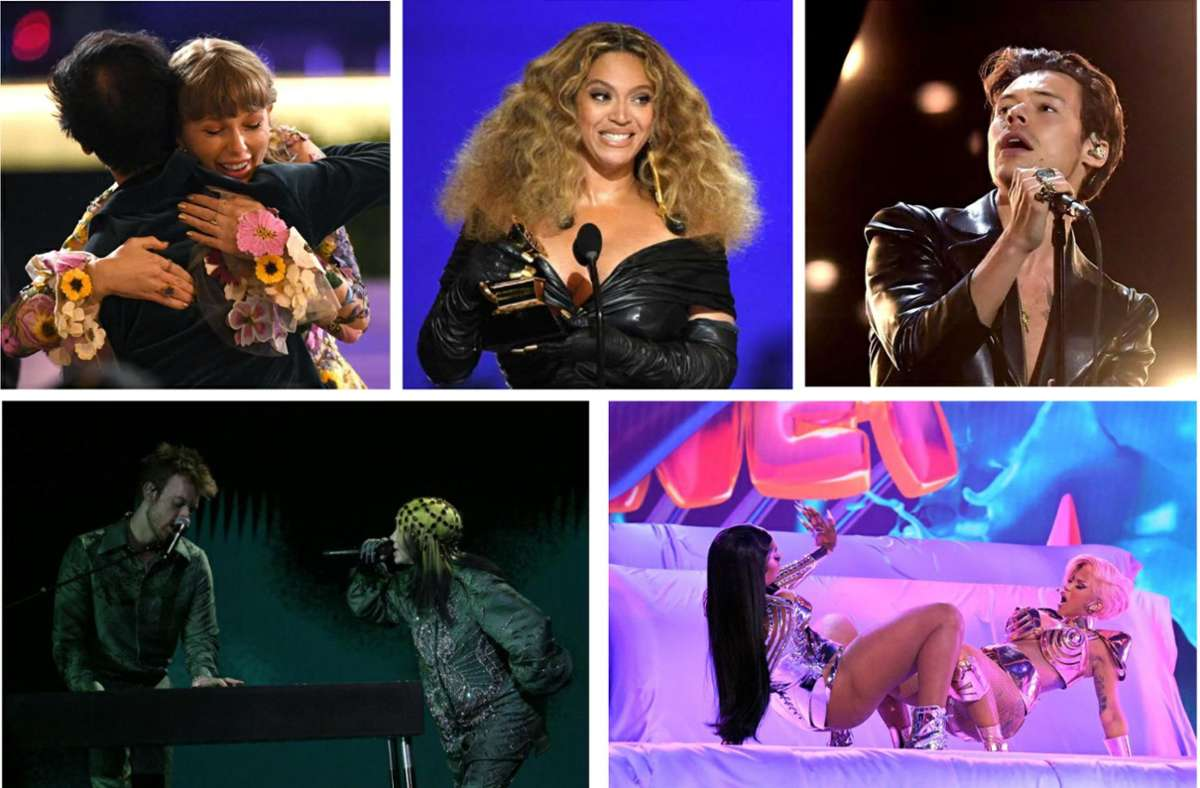 Szenen von der Grammy-Awards-Show: Taylor Swift, Beyoncé und Harry Styles (oben von links), Megan Thee Stallion und Cardi B (unten rechts), Billie Eilish und Finneas O'Connell (unten links). Foto: AFP/Kevin Winter