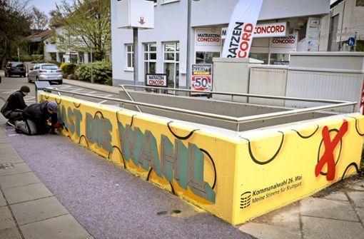Graffiti sollen Jungwähler motivieren