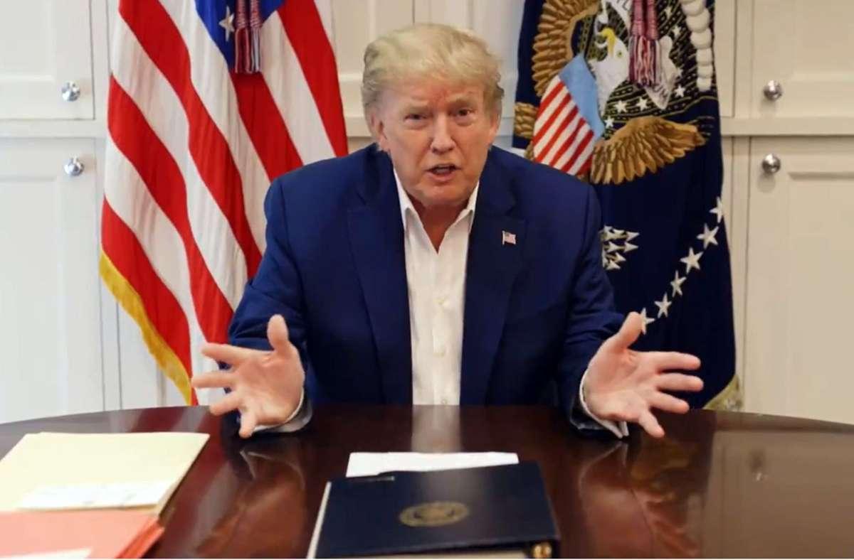 US-Präsident Donald Trump (hier ein Standbild aus einem Twitter-Video) im  Walter Reed Militärkrankenhaus, wo er gegen Covid-19 behandelt wird. Foto: dpa/Donald J. Trump
