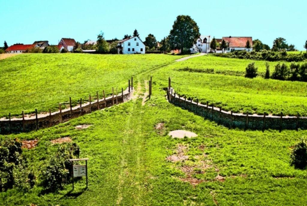"""Das """"Erlebnisfeld Heidengraben"""" – hier die Toranlage bei Erkenbrechtsweiler –  soll   das ehemals größte keltische Oppidum in  Europa touristisch besser erschließen. Foto: Ines Rudel"""