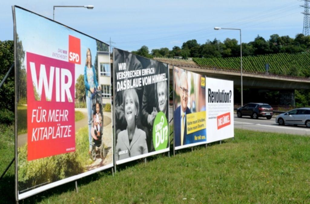 Seit 10. August dürfen die Parteien ihre Plakate zur Bundestagswahl in der Stadt aufhängen. Foto: dpa