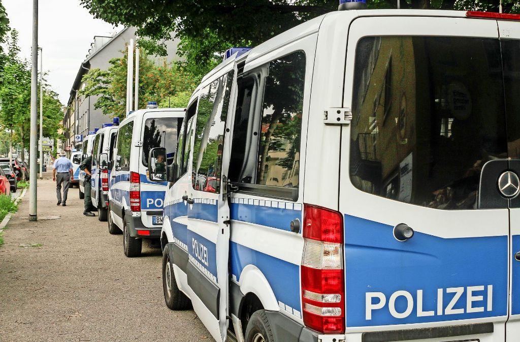 Großes Polizeiaufgebot beim Prozess gegen den Anführer der kurdischen Bahoz-Bande am Amtsgericht Ludwigsburg. Foto: factum/Bach