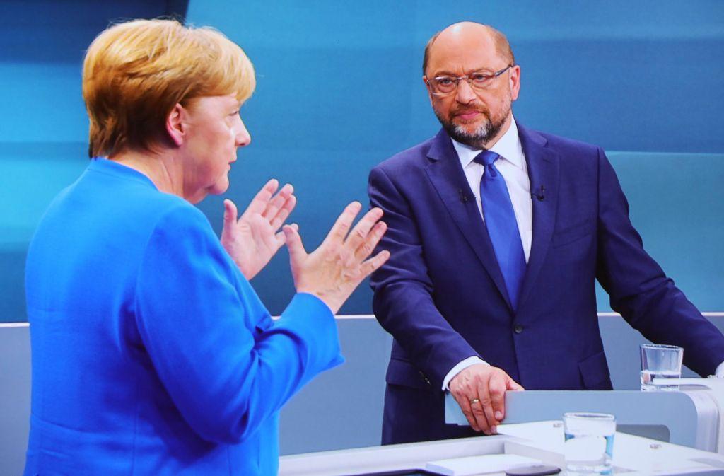 Angela Merkel und Martin Schulz stellten sich den Fragen von vier Moderatoren. Foto: dpa