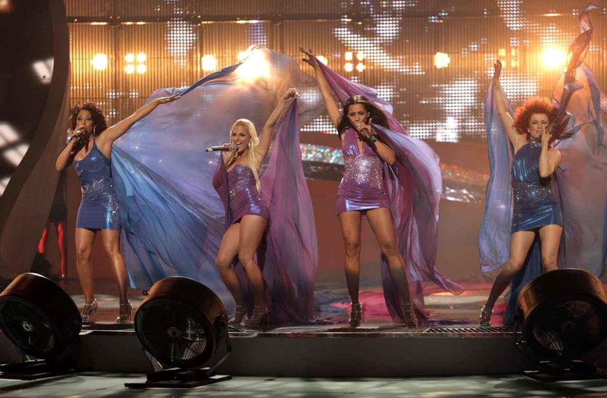 """Die  """"No Angels"""" im Jahr 2008, mit ihren damaligen Mitgliedern Nadja Benaissa (l.), Sandy Mölling, Jessica Wahls und Lucy Diakowska. Foto: dpa/Jörg Carstensen"""